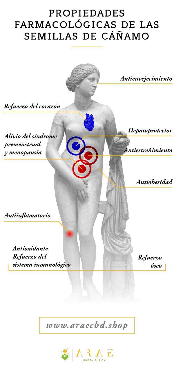 Imagen que muestra las diferentes propiedades medicinales de las semillas de cáñamo*