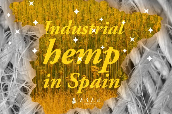 Map of Spain filled with hemp plants
