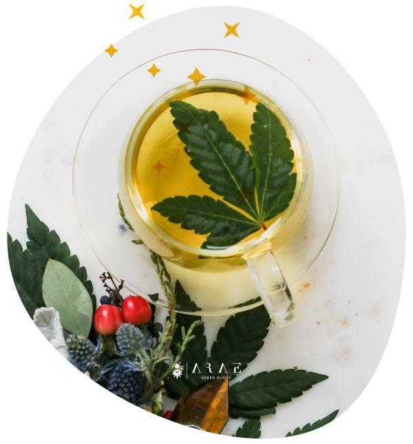 Imagen de una taza de té de cáñamo lista para ser consumida*